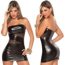 schwarz Leder Kleid Schulterfrei|mit Spitze-Lack-Wäsche|sexy kurz für Party