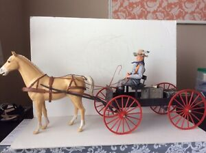 Vintage Marx Johnny West Buckboard Wagon And Horse Nice Condition