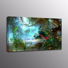 Animals Bird Wall Art Blue Peacock Painting On Canvas Prints Home Decor Picture
