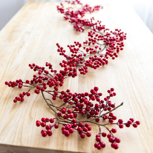 6FT Flexible Artificial Red and Burgundy Berry Garland Vine Swag for Home Decor