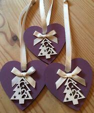 3 X Handmade Christmas Decorations Shabby Chic Wood Heart Tree Bows Purple Cream
