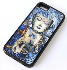 for iPhone 5C - Blue Black Zen Buddha Art Hard Rubber Gummy TPU Skin Case Cover