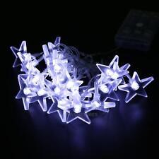2.3M 20 LED Star String Lights Curtain Fairy Lights Xmas Wedding Garden Decor