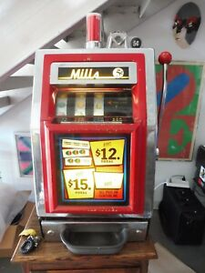 """1960'S MILLS NICKEL SLOT MACHINE WITH LIT INTERIOR SOLD """"AS IS"""" SEMI WORKING"""