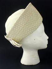 VTG Ladies Mr. John Rimmed Crown Bowler Winter White Hat w/Gold Net Trim