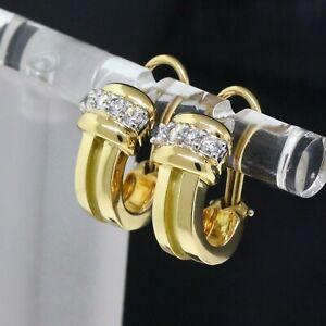 Vintage Tiffany & Co.1995 18K Yellow Gold/Platinum Diamond Atlas Groove Earrings