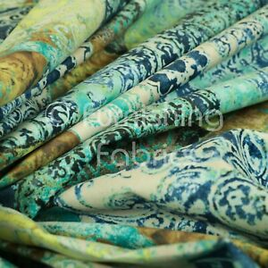 Soft Printed Velvet Patchwork Blue Damask Traditional Pattern Upholstery Fabric