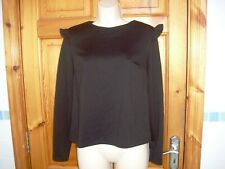 Ladies black long sleeved top with shoulder ruffle size 10 vgc