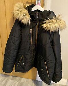 Vero Moda Black Padded Puffa Fur Hooded Winter Parka Coat XL 14 16