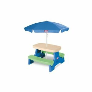 Little Tikes Easy Store Jr Colorful Kids Picnic Play Table with Umbrella Seats