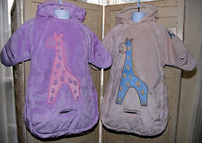 Pair Two Infant Bunting Bags Car Seat Cover Blankets Twins Siblings So Soft!