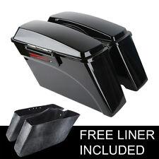 Vivid Black Saddlebags Saddle Bag For Harley Touring Electra Glide Street Glide