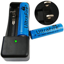 2 X 18650 5000mAh 3.7V Li-ion Rechargeable Battery & US Charger For Flashlight