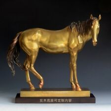 "14"" Western Art Deco Sculpture Fengshui Horse Bronze animal Statue Wooden base"
