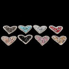 Bling Rhinestones love heart Embroidered Patch Iron on Sewing Crystal AppliquD4F