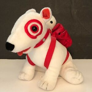Target Bullseye Dog Plush Bull Terrier with Baby Puppy in Red Backpack