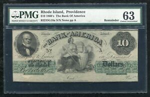 1860'S $10 THE BANK OF AMERICA PROVIDENCE, RI OBSOLETE REMAINDER PMG UNC-63