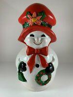 "Vintage ceramic snowman woman Christmas hand painted 12.5"""