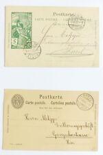 Postkarten mit aufgedruckten Marken, Basel 1900-1901, echt gelaufen