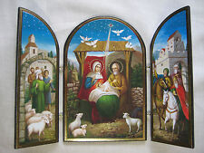 Nativity Triptych Icon, Jesus and Family in Bethlehem, Authentic Russian Icon