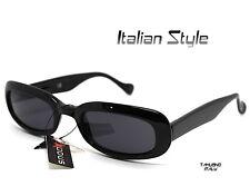 OCCHIALI DA SOLE VINTAGE UOMO DONNA rettangolare basso NERO Italian Design