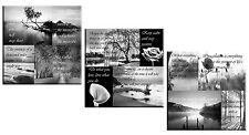 Set of 3 Canvas Art Pictures Black & White Positive Thinking Quotes Grey 160cm