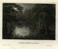 Mount Auburn Cemetery Boston c. 1850 engraved view beautiful hand color