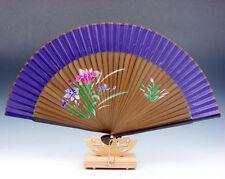 Chino Flores & Lotus Abanico Plegable Manual Decoración de Pared con / Soporte