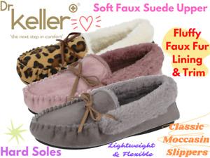 Ladies Dr Keller Faux Suede Fur Lined Trim Slip On Hard Sole Moccasin Slippers