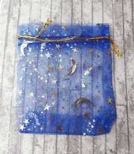 50 Royal Blue Star and Moon Organza Bags, 12 x 9cm, BULK, Gold Pull Tie, Baby