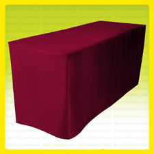 5' Fitted Tablecloth Table Cover Wedding Banquet Event - Burgundy Red