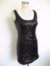 White House Black Market Black Sequin Mini Tank Dress XXS Scoop Neck Sleeveless