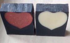 Mydło DIY Czarne z sercem, czerwona glinka, węgiel aktywny bambusowy