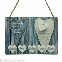 Personalised Our Family Tree Gift Many Hearts Plaque Children Parents Present