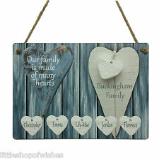 Personalised Our Family Tree Christmas Gifts Many Hearts Plaque Children Parents