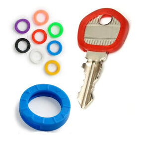 5 x Key Cap Caps Covers Tags ID Markers Keyring Assorted Colours Plastic Rings