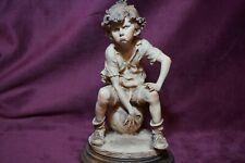 Guiseppe Armani Boy Soccer Player Sephia Style Figurine  Signed Vintage