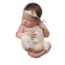 bebé recién nacido de niña Fotografía Props ENCAJE Pelele lazo mono trajes