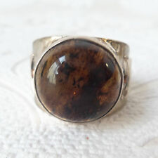 Honey Amber Solid .925 Sterling Silver Mens Ring US Man Size 12 Round Gemstone
