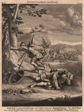 BIBLE. 1 Chronicles 10.4-5 Sauls overthrow and death 1752 old antique print