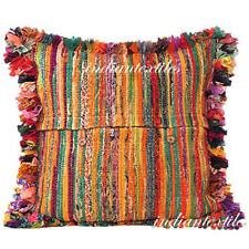 "INDIAN MULTI CUSHION PILLOW 16X16"" HANDMADE RUG RAG VINTAGE CHINDI COTTON COVER"
