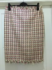 KAREN MILLEN PINK CREAM CHECKED FRINGED SKIRT SIZE 12