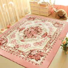 Romantic Pink Rose Rug For Living Room,American Country Style Carpet Bedroom Rug