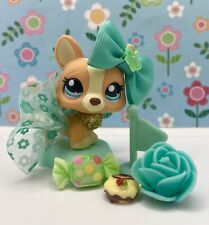 Authentic Littlest Pet Shop # 2290 Orange Cream Gold Glitter Corgi Blue Eyes