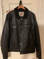 Levi's Faux Leather Sherpa Lined Black Biker Jacket Size L