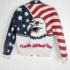 Rare   Authentic Leather   Vintage Stars & Stripes Patriotic Bald Eagle Bomber S