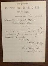 Nodine GAR Veteran  Gravestones Document 1886 Champaign Illinois IL Civil War