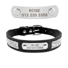 Rhinestone Personalized Dog Collars Engraved Crystal Dog Name Collar Necklace