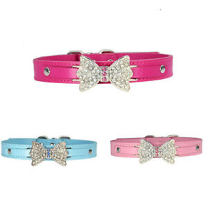 Crystal Bow Pendant Chain Bling Leather Rhinestone Collar Puppy Dog Cat Necklace