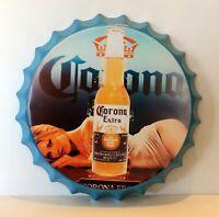 Corona Extra Beer Tin Metal Bottle Top Wall Sign